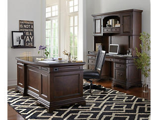 "Essex 66"" Brown Oak Executive Desk, , large"