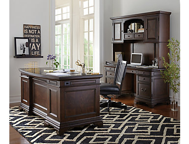 "Essex 66"" Brown Oak Executive Desk, , large"