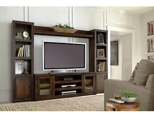 "Alder II Wall with 72"" Tobacco TV Stand, Dark Brown, large"