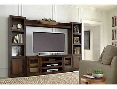 """Alder II Wall with 72"""" Console, Dark Brown, large"""