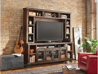 """Boulder Creek 84"""" Tobacco TV Stand and Hutch, Dark Brown, large"""