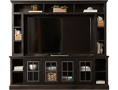 """Churchill 96"""" Ghost Black TV Stand and Hutch, , large"""