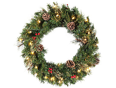 """24"""" Frosted Pre-Lit Wreath, , large"""