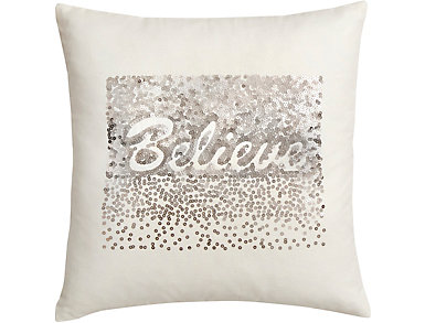 """BELIEVE"" Sequined Pillow, , large"
