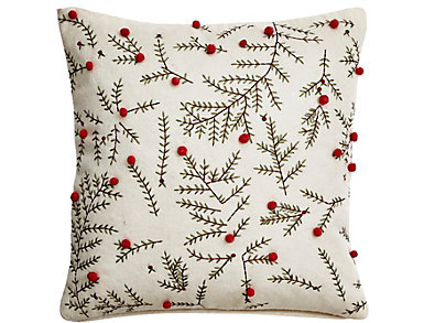 Embroidered Wool Felt Pillow, , large
