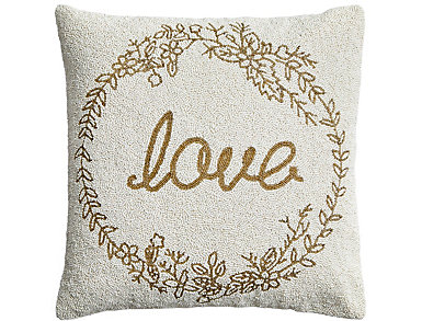 """""""Love"""" Beaded Allover Pillow, , large"""