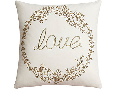 """Love"" Beaded Canvas Pillow, , large"