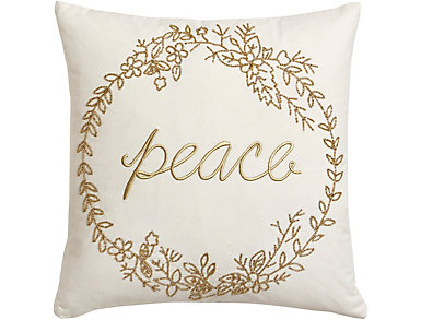 """Peace"" Beaded Canvas Pillow, , large"
