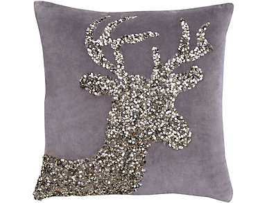 Stag Sequined Velvet Pillow, , large