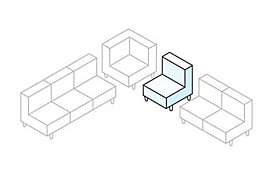 White sectional diagram with the armless piece highlighted in blue