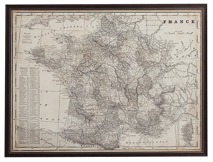 Antique Map of France, , large