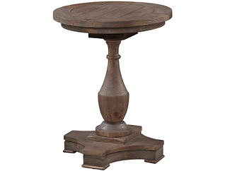 Hitchcock Round End Table, Brown, , large