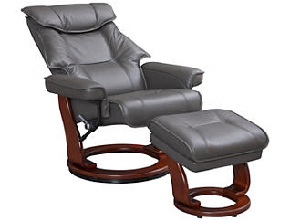 Erik Grey Reclining Chair and Ottoman, , large