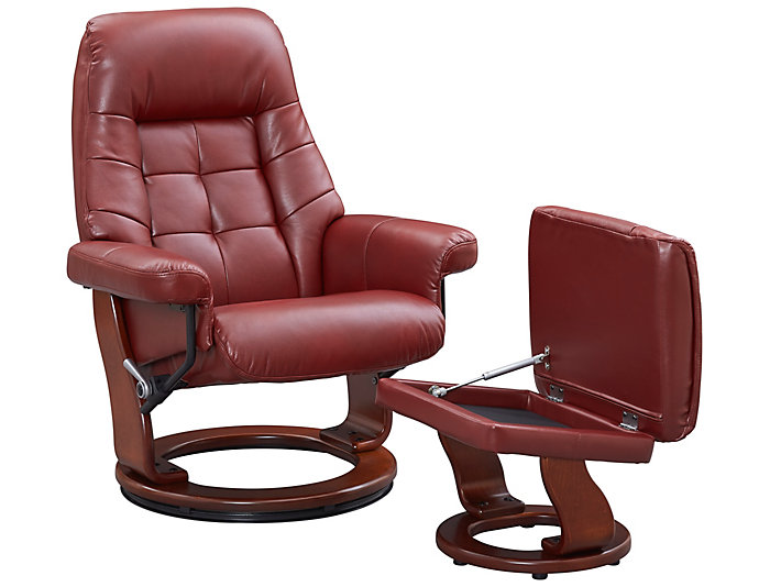 ... Alston Collection Reclining Chair And Ottoman, Red, , Large ...