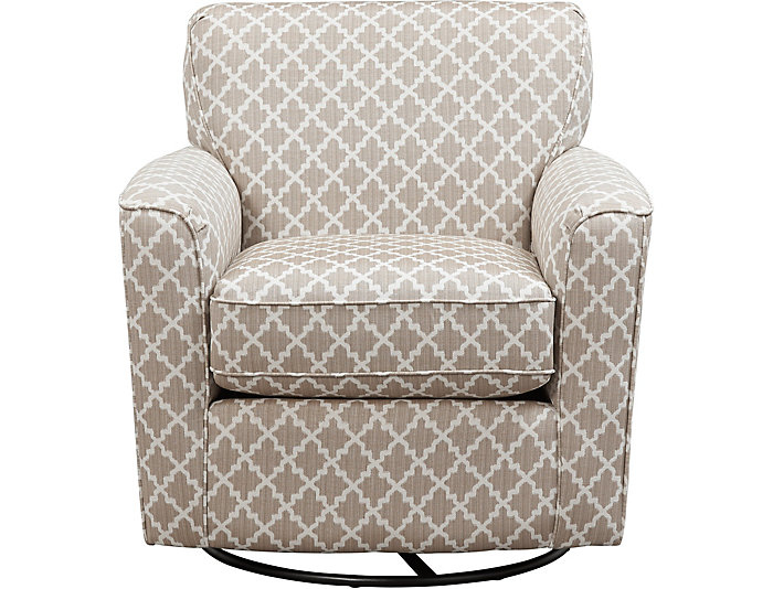 Kaylee Silver Swivel Glider Chair, Beige, large