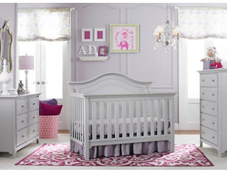 Bari Misty Grey 4 in 1 Convertible Crib, Misty Grey, large