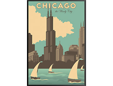 Chicago Windy City Vintage Poster, , large