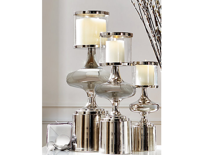 Nickel Plated Candle Hurricane, , large