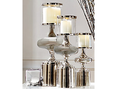 Nickel Plated Candle Holder, , large