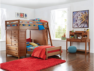 Creekside Taffy Twin Loft with 2 Chests, Brown, large