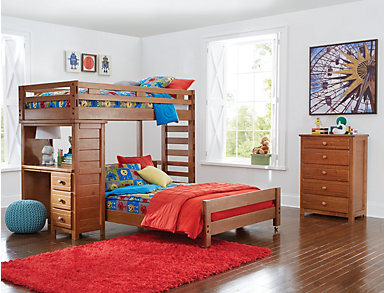 Creekside Taffy Twin Loft Bed with Desk, Brown, large