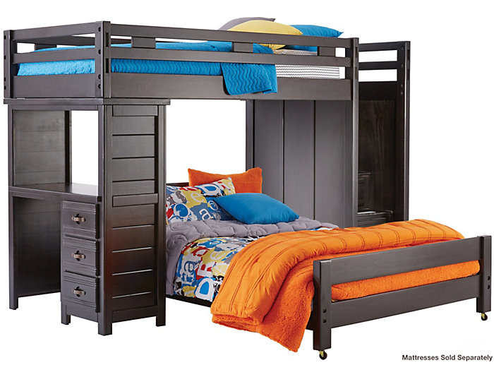Creekside Charcoal Twin Over Full Step Loft With Desk Large