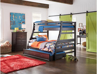 Creekside Charcoal Twin over Full Bunk Bed, Black, large