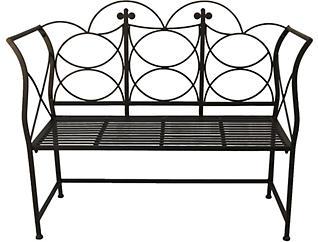 Gaston Metal Patio Bench, Black, , large