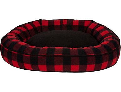 Buffalo Medium Oval Pet Bed, Red, , large