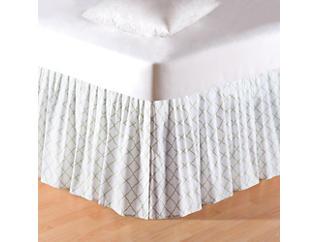 White/Grn Lattice K Bed Skirt, , large