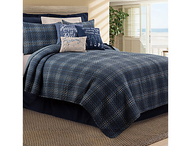 Anthony Navy Twin Quilt Set, , large