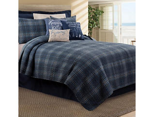 Anthony Navy Queen Quilt Set, , large