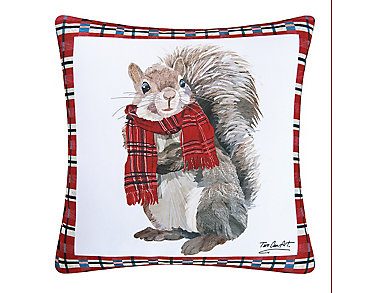 Plaid Squirrel Indoor/Outdoor Pillow, , large