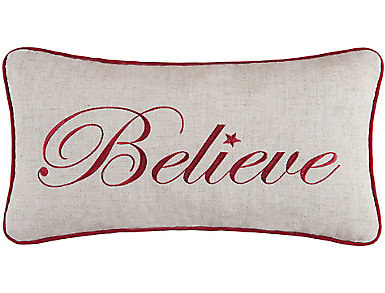 Believe Embroidered Pillow, , large