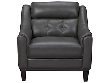 Grove Genuine Leather Chair, Charcoal Grey