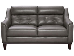 Genuine Leather Upholstered Grove Loveseat, Charcoal Grey, , large