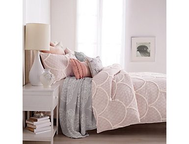 Chenille Scallop 3 Piece Full/Queen Comforter Set, , large