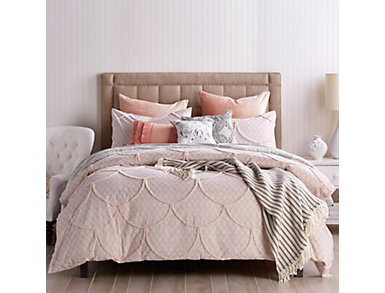 Chenille Scallop 3 Piece King Comforter Set, , large