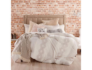 Cut Geo Cream 3 Piece Queen Comforter Set, , large