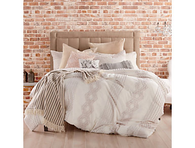 Cut Geo Cream 3 Piece Queen Comforter Set, , large