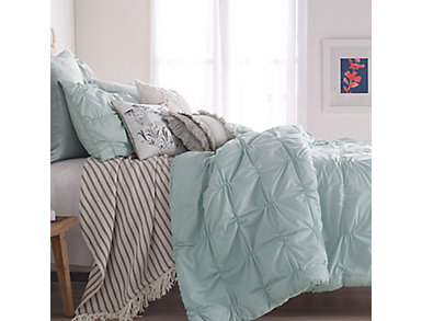 Check Smocked Aqua 3 Piece Full/Queen Comforter Set, , large