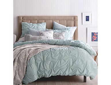 Check Smocked Aqua 3 Piece Full/Queen Comforter Set, , large