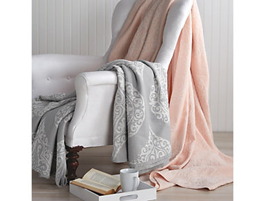 Woven Damask Grey Blanket, , large