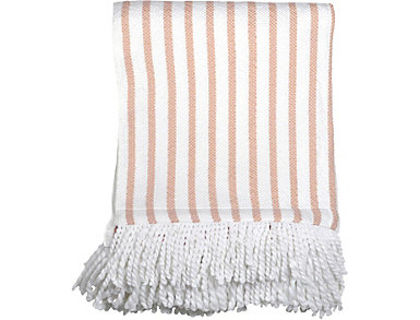 Blush Stripe Fringe Throw, , large