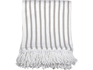 Grey Stripe Fringe Throw, , large