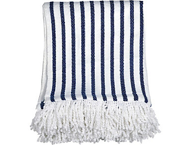 Navy Stripe Fringe Throw, , large