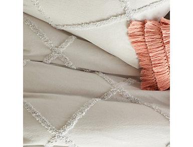 Chenille Lattice Grey 3 Piece King Comforter Set, , large