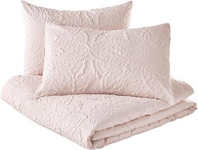 Solid Medallion 3pc King Comforter Set, , large