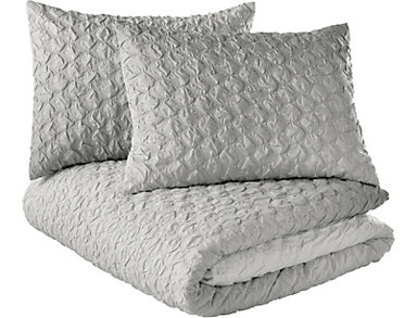 Ombre Honeycomb 3 Piece King Comforter Set, , large