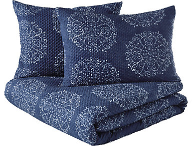 Navy Medallion 3 Piece Full/Queen Comforter Set, , large